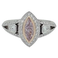 Fancy Purplish Pink Diamond Platinum Ring