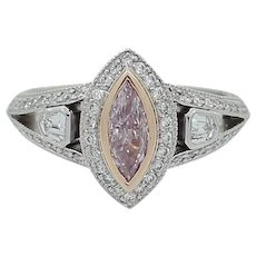 Fancy Purplish Pink Diamond Platinum Ring
