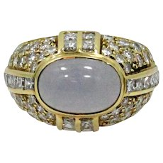 18K Yellow Gold Chalcedony and Diamond Ring