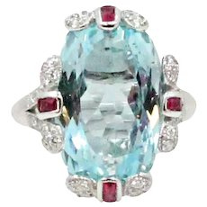 18K White Gold Aquamarine Diamond and Ruby Ring