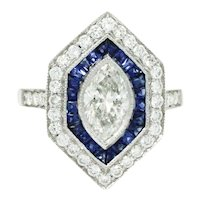Platinum Marquise And Sapphire Ring