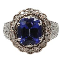 18K White Gold Tanzanite Diamond Ring