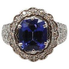 18K White Gold Tanzanite Diamond Ring