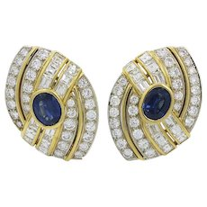 18K Two Toned Sapphire And Diamond Earrings