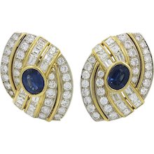 18K Two Toned Sapphire And Diamond Earrings