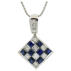 18K White Gold Square Diamond And Sapphire Pendant