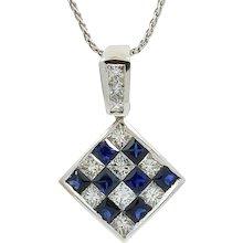 18K White Gold Square Diamond And Sapphire Pendent