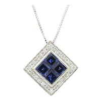 18K White Gold Sapphire And Diamond Square Pendant