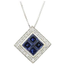 18K White Gold Sapphire And Diamond Square Pendent