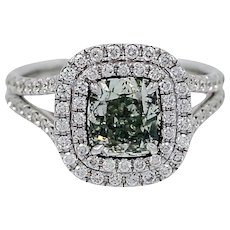 18K White Gold Ring with a Natural Grayish Green Yellowish Fancy Diamond 2.05 carat GIA