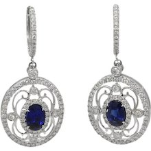 18K White Gold Oval Sapphire And Diamond Earrings