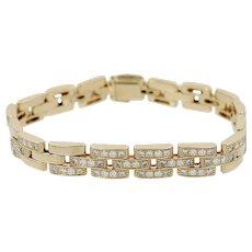 18K Cartier Maillon Panthere Three Row Bracelet with Diamonds