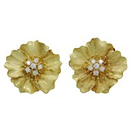 Tiffany & Co. Gold and Diamond Alpine Rose Earrings