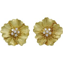 Tiffany & Co. Gold and Diamond Alpine Rose Earrings
