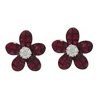14K White Gold Ruby Flower Earrings