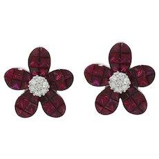 14K White Gold Ruby Flower Earrings