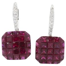 18K White Gold Ruby Square Drop Earrings