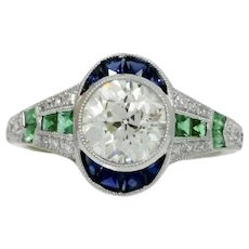 Platinum Diamond Emerald And Sapphire Ring