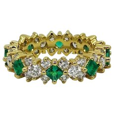 18K Yellow Gold Diamond and Emerald Eternity Band