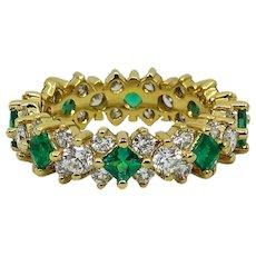 18K Yellow Gold Diamond and Emerald Eternity Band