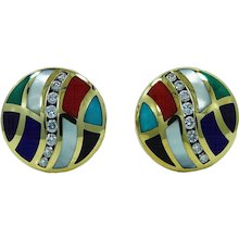 Asch Grossbart Mother Of Pearl Multicolored Enamel And Diamond Earrings