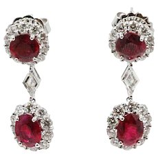 18K White Gold Ruby Drop Earrings