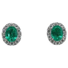 18K White Gold Oval Cut Emerald and Diamond Earrings