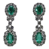 Gregg Ruth Oval Cut Emerald and Diamond Drop Earrings