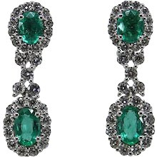 Gregg Ruth Oval Cut Emerald and Diamond Drop Earrings