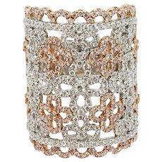 18K White Gold White Diamond and Pink Diamond Ring