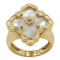 18K Yellow Gold Mother Of Pearl Buccellati Ring