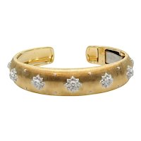 18K White and Yellow Gold Buccellati Macri Cuff Bracelet