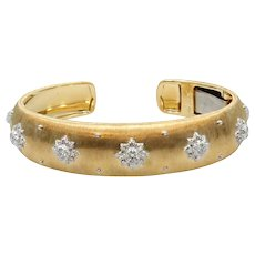 18K White and Yellow Gold Buccellati Macri Cuff Bracelet