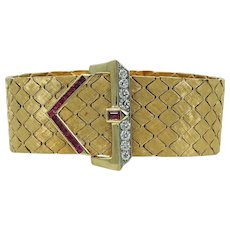 Buckle Style 18K Yellow Gold Ruby and Diamond Bracelet