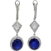 18K White Gold Sapphire And Diamond Earrings
