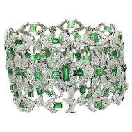 18K White Gold Emerald And Diamond Bracelet