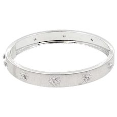 18K White Gold Diamond Buccellati Macri Bangle