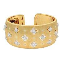 18K Yellow and White Gold Buccellati Macri Cuff Bracelet