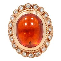 14K Rose Gold Spessartite and Diamond Ring