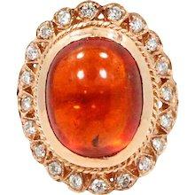 14K Rose Gold Spessartite and Diamond Ring