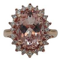 14K Rose Gold Oval Morganite Ring