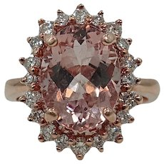 14K Rose Gold Oval Morganite Ring
