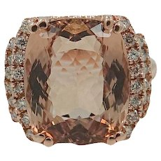 14K Rose Gold 10.71 Carat Morganite Ring with Diamonds