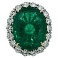 18K White Gold Oval 19.78ct Emerald Diamond Ring