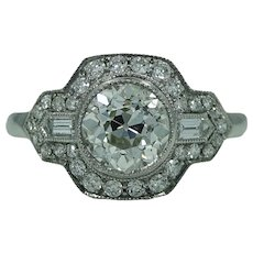 Old European Cut 1.41 Carat Diamond Platinum Ring
