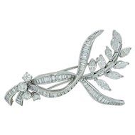 Platinum Brilliant, Baguette and Marquise Diamond Brooch