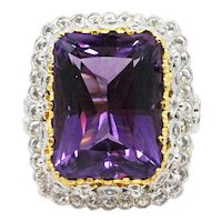 18K Yellow and White Gold Ring With Amethyst and Diamonds