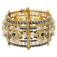 Renaissance Revival Diamond Sapphire Pearl Gold Cuff Bangle