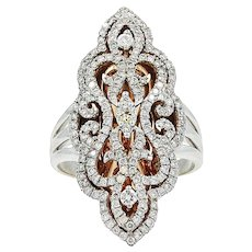 18K Two Tone Fashion Ladies Ring with Diamonds