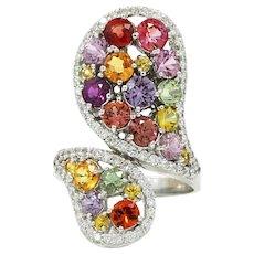 14K White Gold Multicolored Sapphire And Diamond Ring